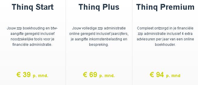 Thinq boekhouden prijzen