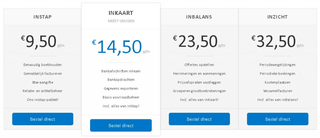 snelstart prijzen boekhoudprogramma