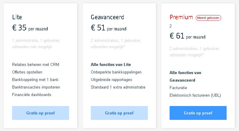 prijzen exact online boekhouden in een handig overzicht